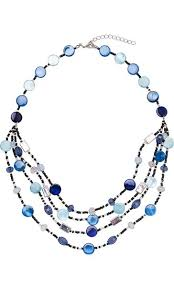 multi layered beaded necklace images Silver blue multi layer beaded necklace jpg