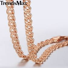 womens necklace chains images Trendsmax necklace for women men 585 rose gold snail curb link jpg