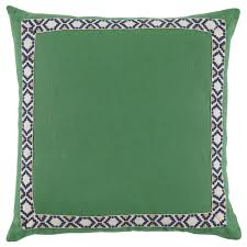 d942 kelly green linen border throw pillow