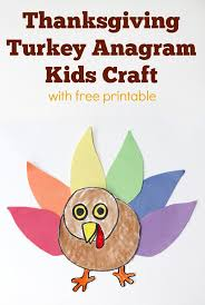 thanksgiving turkey anagram craft with free printable