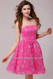 a line pink strapless knee length dresses for dama 132 69