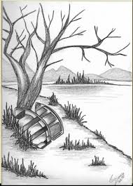 easy pencil drawings of scenery drawing examples and drawing