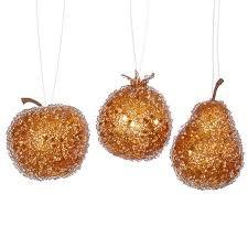 buy set of 3 burnt orange beaded frozen and glittered apple pear
