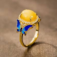 blue butterfly rings images Sterling silver enamel jewelry 925 silver enamel necklaces jpg