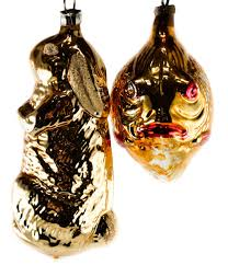 vintage 1920 s german mercury glass fish and hare ornaments