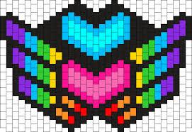 kandi mask winged pride heart mask bead pattern peyote bead patterns misc