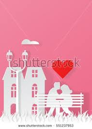 for honeymoon paper style valentines background stock vector