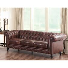 Top Leather Sofas by Abbyson Grand Chesterfield Brown Top Grain Leather Sofa Hayneedle