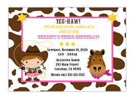 Invitation Cards For Birthday Party Custom Cowgirl Birthday Party Invitation Choose Background And