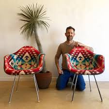 miller eames shell chair reupholster in pendleton wool