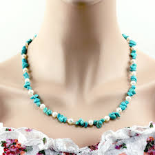 natural turquoise necklace images Blue turquoise natural pearl necklace 6grape jpg