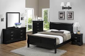 louis philip sleigh bedroom set black b3900 crown mark