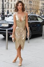 emily ratajkowski u0027s glittering gold cocktail dress instyle com