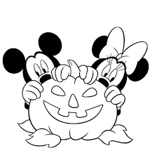 minnie mickey hiding pumpkin coloring disney