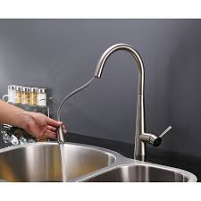pull kitchen faucets stainless steel ruvati rvf1221b1bn pull kitchen faucet with deck plate