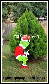 christmas grinch stealingas lights the lawn yard art decoration