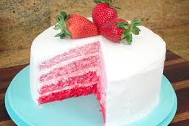 strawberry ombre cake with white chocolate cream cheese