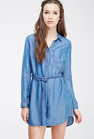 forever 21 self tie denim shirt dress where to buy u0026 how to wear