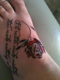 special red rose on top foot 35 foot tattoos for girls foot