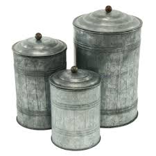 aspire 3 piece galvanized metal canister set new house ideas