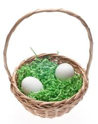 easter basket grass easter basket with grass and two white eggs stock image image of