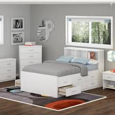 White Bookcase Headboard Full Sonax 3d 111 Lwb Double Captain U0027s Storage 4 Piece Bed Set With