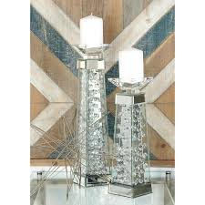 18 in clear glass and mirror pedestal candle holder 87375 the