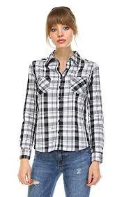 Black And White Plaid Shirt Womens Black And White Checkered Shirt Amazon Com