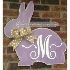 Wooden Easter Door Decorations by Shabby Chic Cottontail Easter Bunny Wooden Door Hanger Door Sign