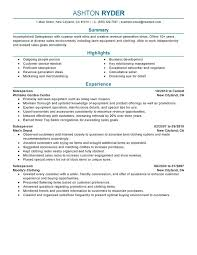 sample of experience resume salesperson resume sample sample