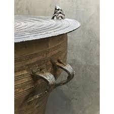 Drum Side Table Distinguished Burmese Shan Bronze Drum Side Table Decaso