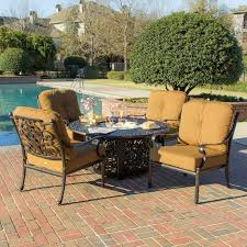 Ultimate Patio Furniture by Evangeline 5 Piece Cast Aluminum Patio Deep Seating With Fire Pit