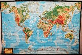 Large Vintage World Map by Large Extreme Raised Relief Map Of The World French
