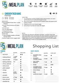 weekly meal planner with grocery list grocery list