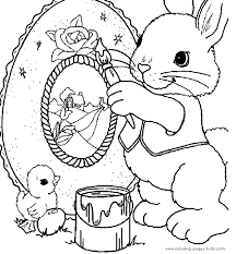 bunny painting easter egg coloring