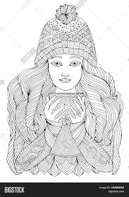 vector hand drawn in a warm sweater and knit hat holding a