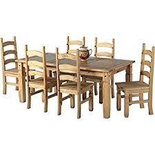 Mexican Dining Room Furniture by Mexican Corona 6ft Pine 70 Dining Table Set 6 Chairs Antique