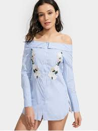 dress blue shoulder floral stripe shirt dress light blue casual dresses