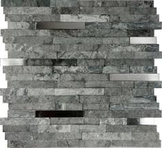 Stone Kitchen Backsplashes 1sf Gray Natural Stone Stainless Steel Insert Mosaic Tile Kitchen