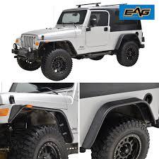lj jeep black front rear fender flares with led light for 97 06 jeep