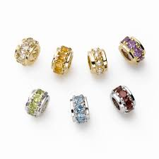 birthstone rondelle bead charms 14k yellow or white gold your choice