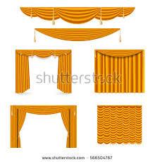 Gold Satin Curtains Golden Silk Curtains Draperies Interior Decoration Stock Vector