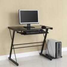 Computer Desk In Black Glass Top Computer Desk Visualizeus