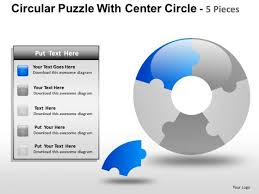 download circular puzzle with center circle 5 pieces powerpoint
