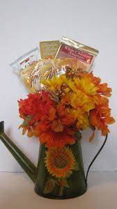 fall gifts fall gift basket with tin sunflower watering can by
