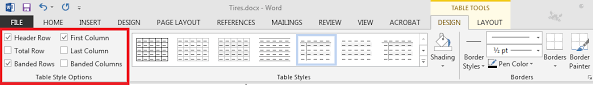 table tools design tab accessible documents tables cape vc