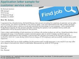 customer service sales application letter