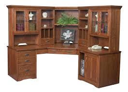 Wood Corner Desk With Hutch Amish Large Corner Computer Desk Hutch Bookcase Home Office Solid
