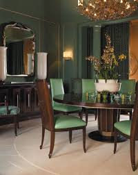 an art deco inspired dining room in a serene shade of green