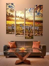4 piece multi panel art colorful wall decor zebra group canvas